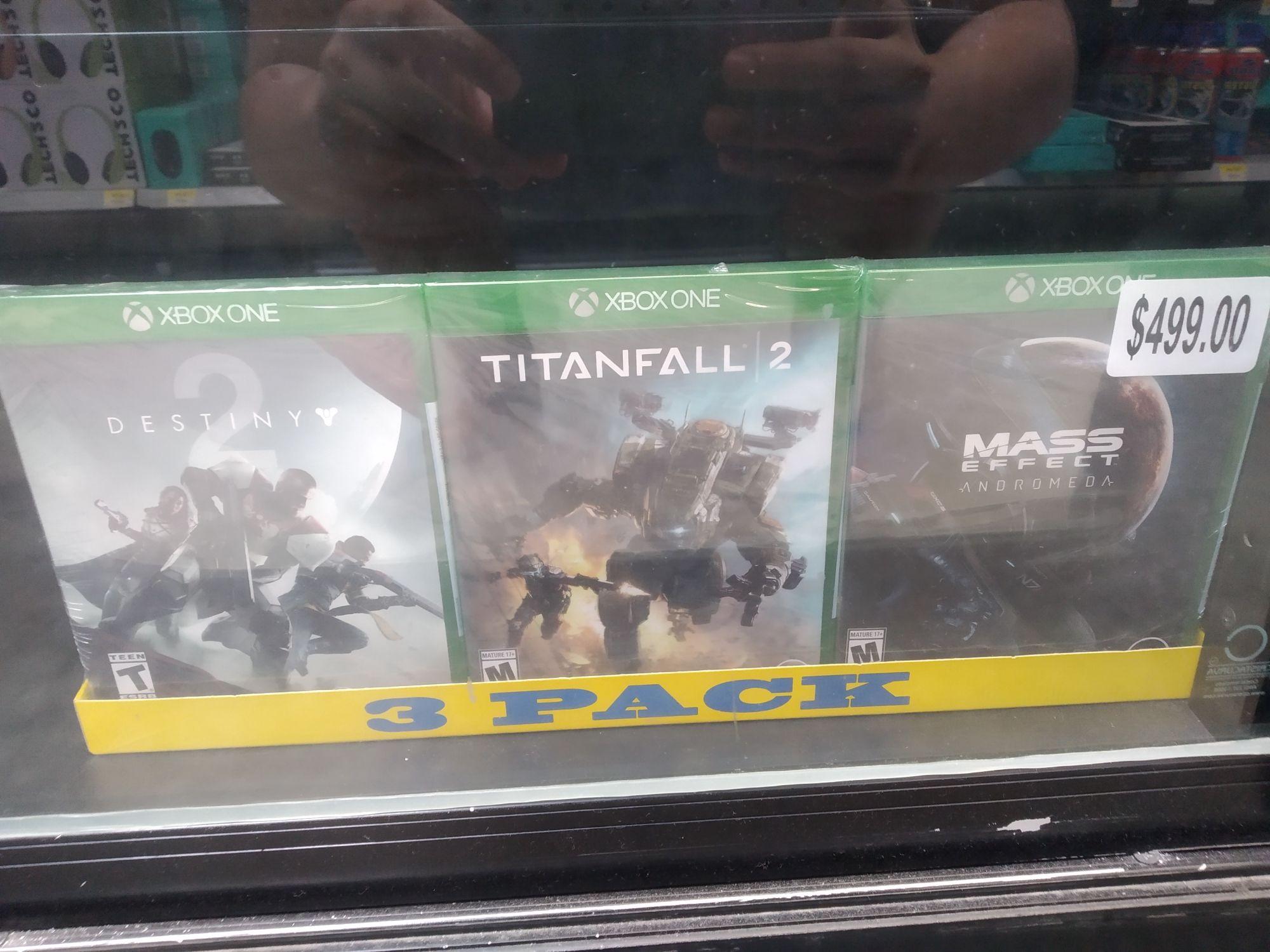 Bodega Aurrera: Paquete de tres juegos (Destiny, Titanfall 2 y Mass Effect Andromeda)