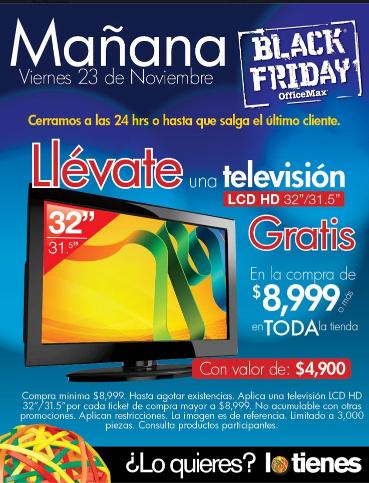"""Black Friday en OfficeMax: pantalla LCD 32"""" gratis con compra mínima (actualizado)"""