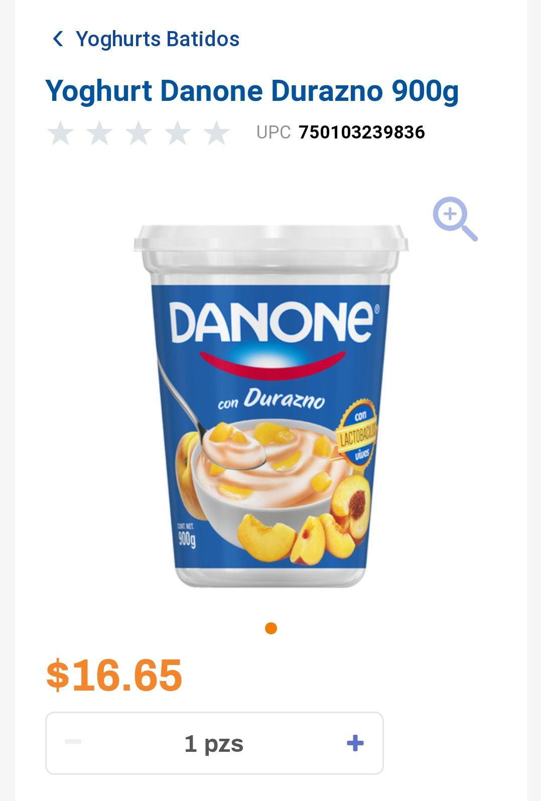 Chedraui: Yogurt Danone Durazno 900 gr con Trozos de Durazno