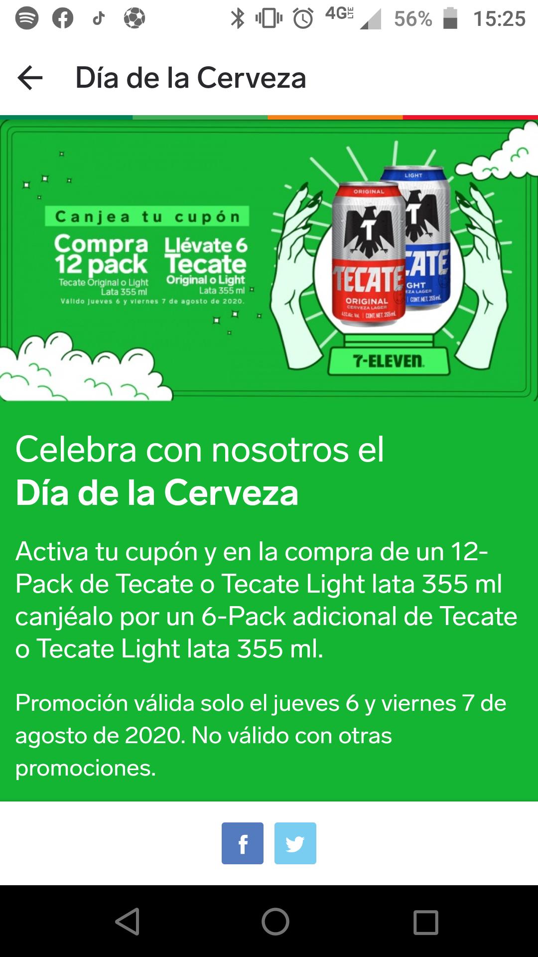 7 Eleven App un six gratis en la compra de un 12 pack