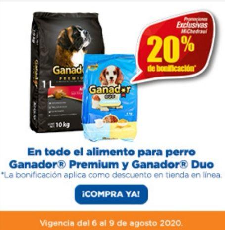 Chedraui: 20% de descuento / bonificación en alimento para perro Ganador Premium y Ganador Duo
