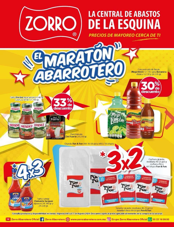 """Zorro: 9° Folleto de Ofertas Semanal """"El Maratón Abarrotero"""" al Martes 11 de Agosto"""