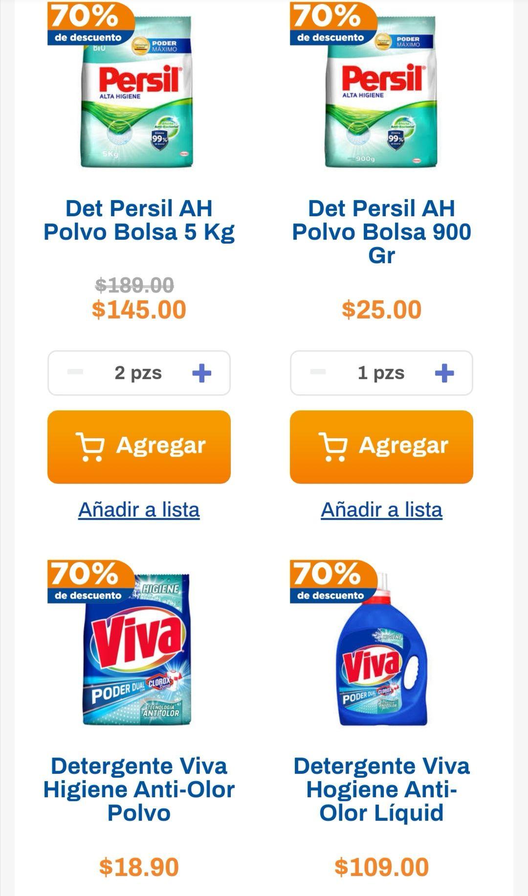 Chedraui: 70% de descuento en la segunda pieza de detergente Persil o Viva