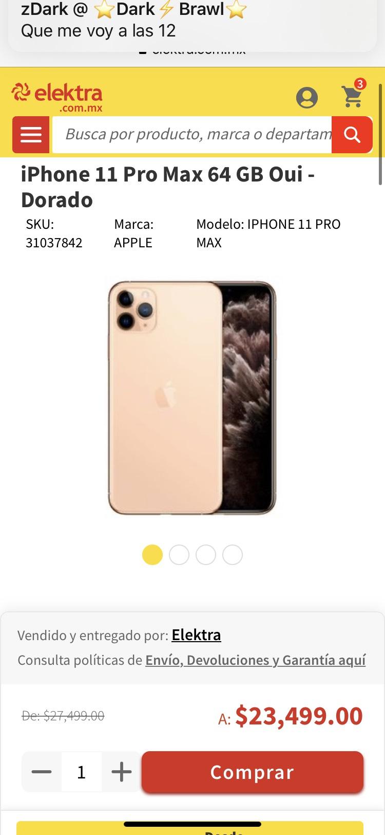 Elektra: iPhone 11 Pro Max 64 GB (Pagando con tarjeta digital Banorte)