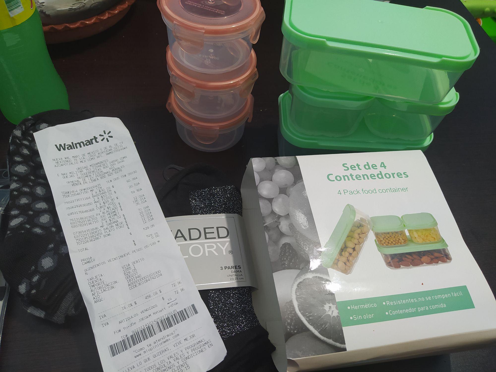Walmart: Tines, contenedores, etc