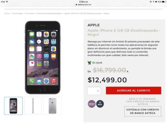 Elektra en línea: iPhone 6 128Gb desbloqueado negro