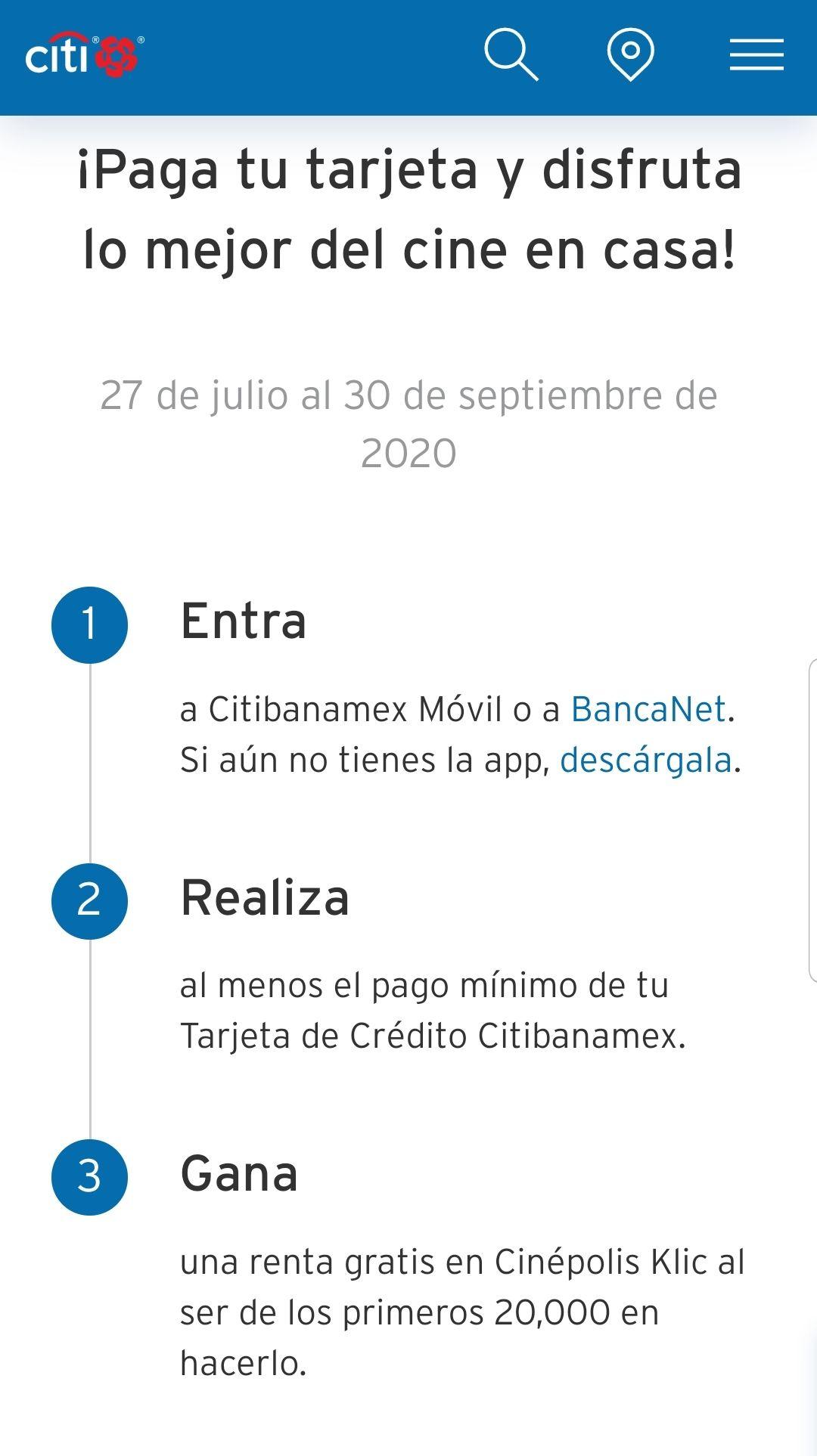 Renta gratis Cinepolis Click con BancaNet
