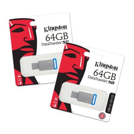 Memoria USB Kingston DT 3.0 de 64 GB 2 pzas