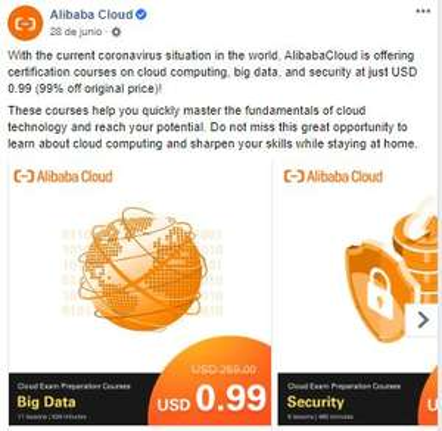 certification courses on cloud computing, big data, and security de Alibaba por un dolar