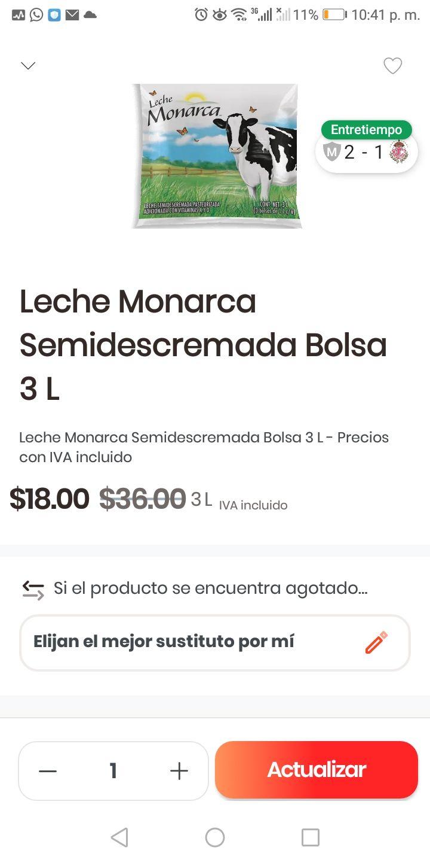 Rappi Soriana GDL: Leche Monarca 3 Litros y más descuentos