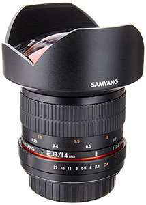Amazon: Samyang Lente gran angular de 14 mm F2.8 para CANON