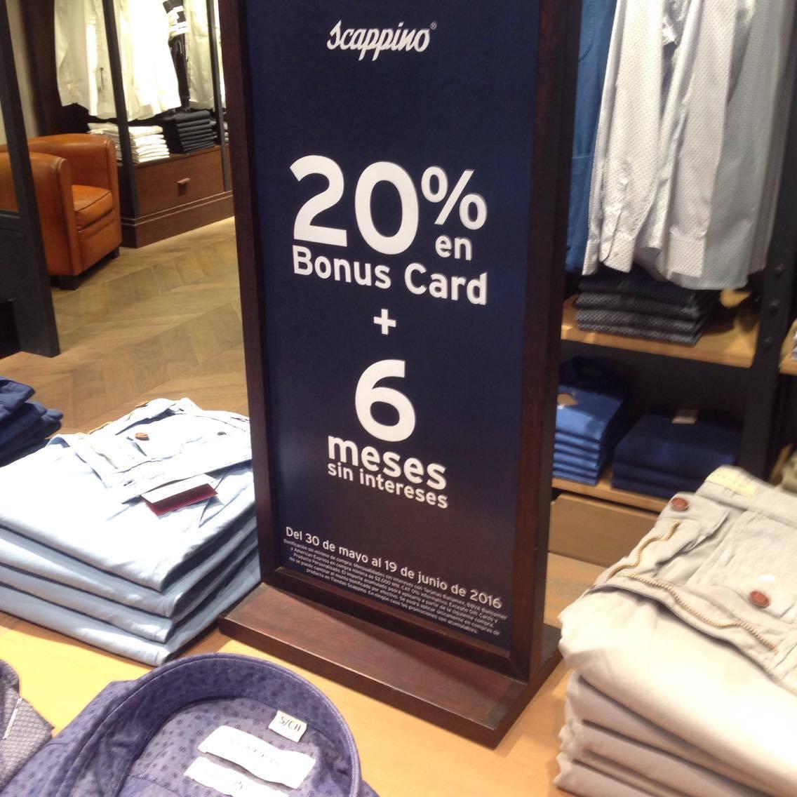 Scappino: 20% Bonificaciòn en toda la tienda sin minimo de compra + 6 meses sin intereses con compras mayores a $2000
