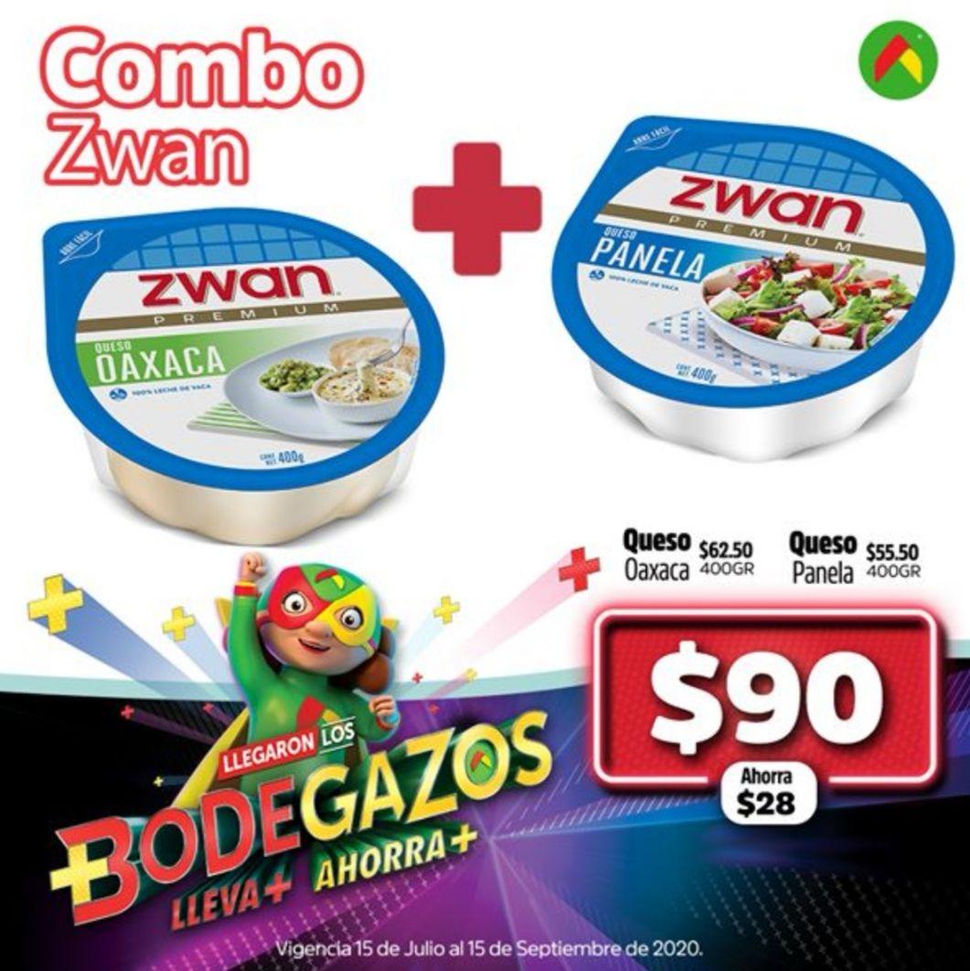 Bodega Aurrerá: Combo Zwan: Queso Oaxaca 400 g ($62.50) + Queso Panela 400 g ($55.50) = $90