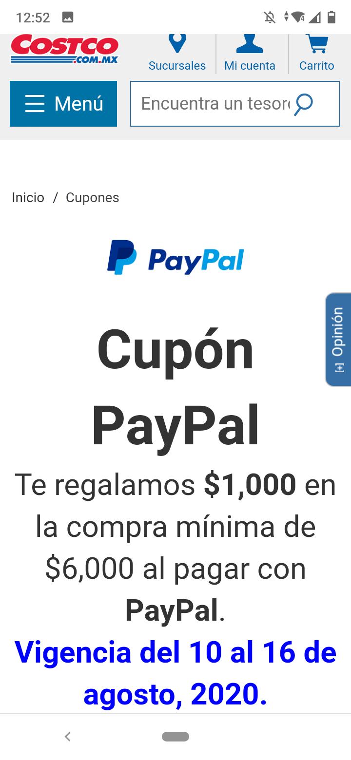 Costco: $1,000 de descuento en compras de $6,000 con PayPal