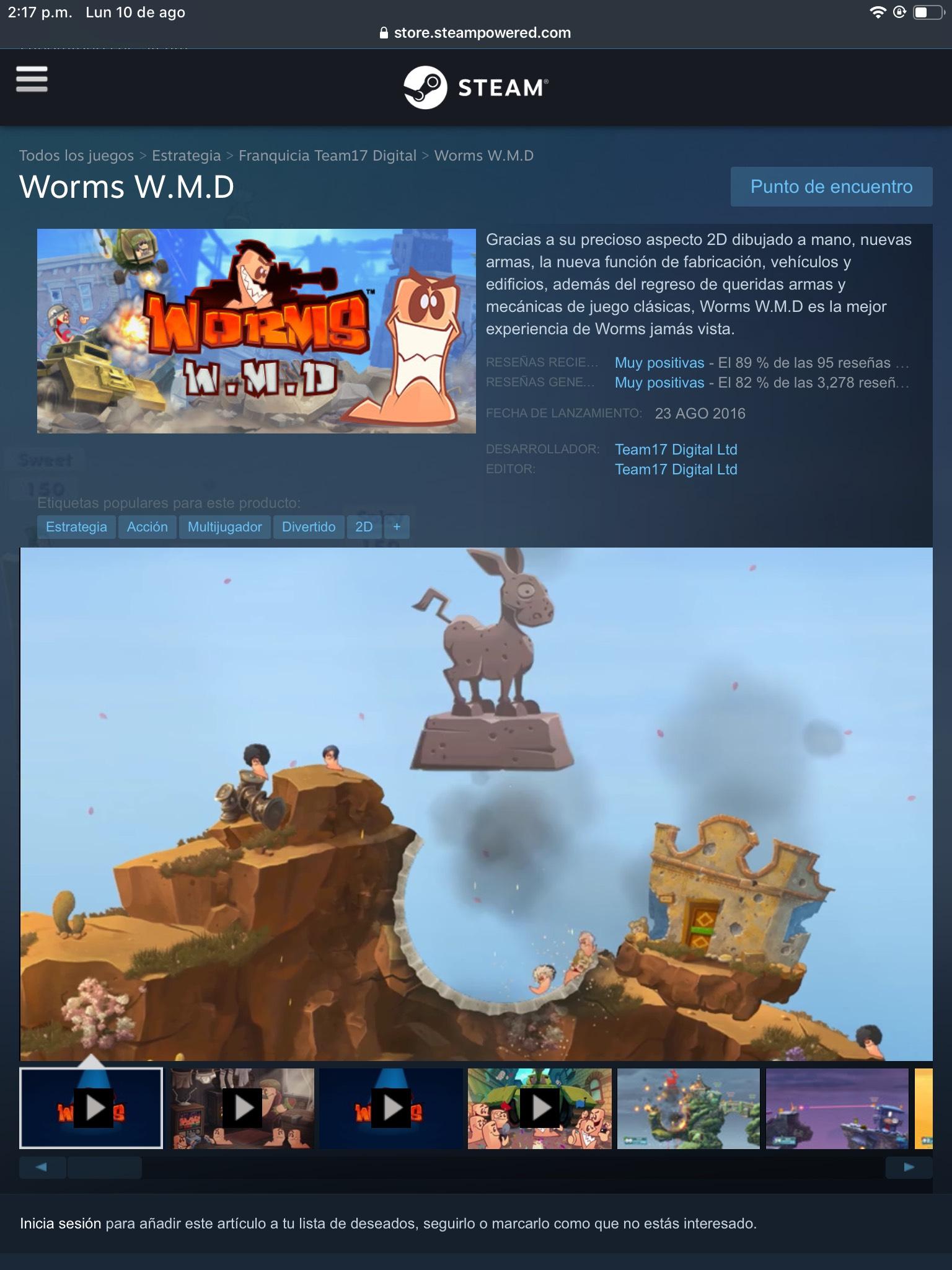 Steam: Worms W.M.D 75% de descuento
