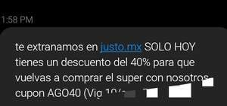 40% en JÜSTO (usuarios seleccionados)