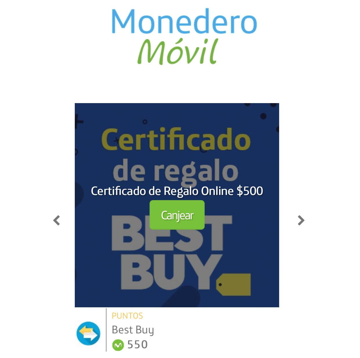 Premios Movistar: Certificado de regalo Best Buy $500 por 550 puntos