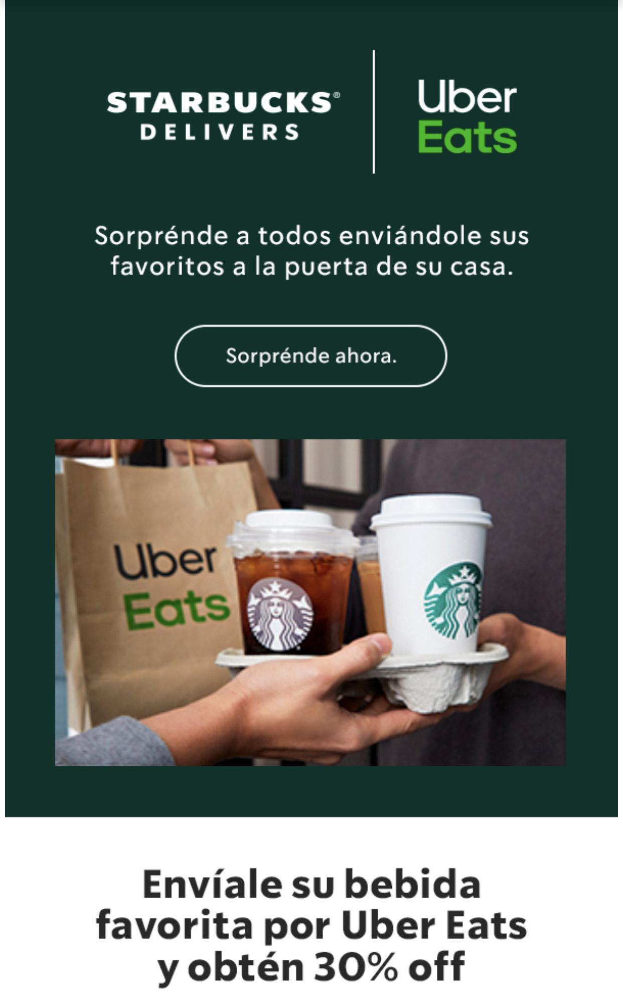 Starbucks: 30% de descuento en Uber Eats