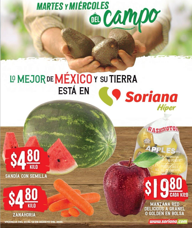 Soriana: Martes y Miércoles del Campo 11 y 12 Agosto: Zanahoria ó Sandía $4.80 kg... Manzana Golden Bolsa ó Manzana Red Granel $19.80 kg.