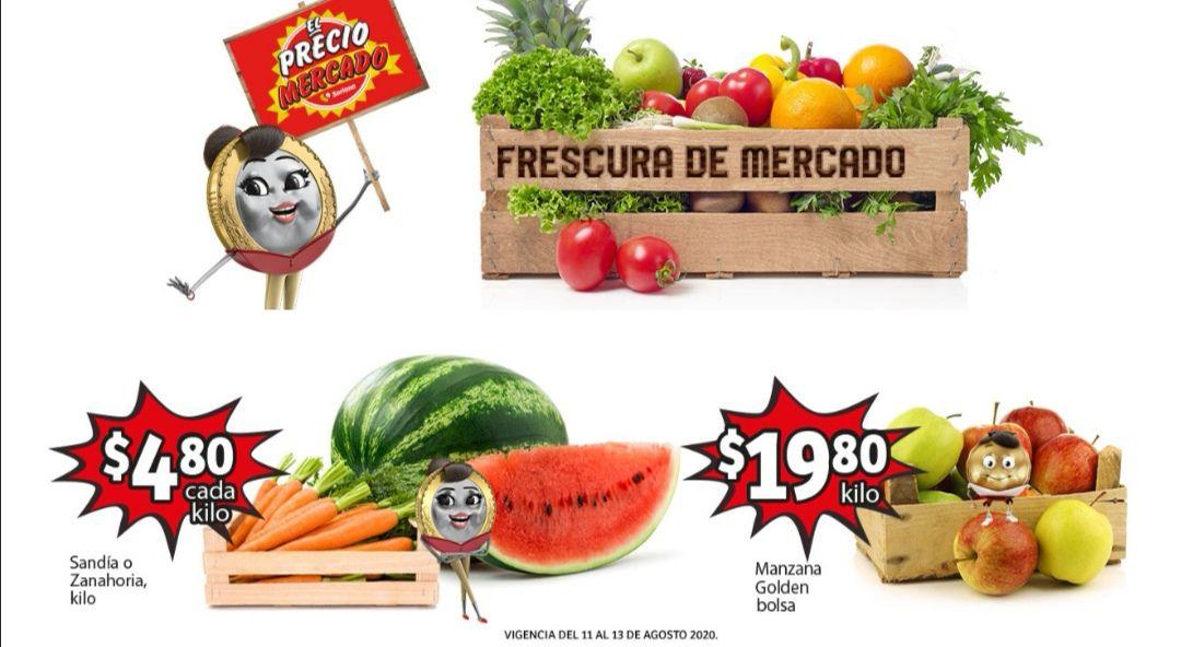 Soriana Mercado y Express: Frescura de Mercado del 11 al 13 Agosto: Zanahoria ó Sandía $4.80 kg... Manzana Golden en Bolsa $19.80 kg.