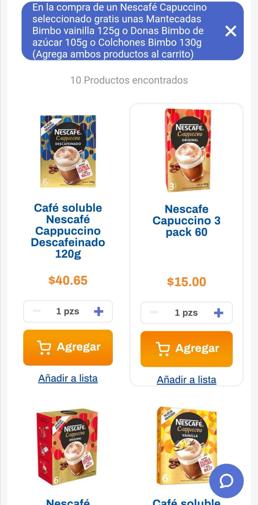 Chedraui: En la compra de un Nescafé cappuccino seleccionado, llévate gratis unas mantecadas ó donas ó colchones Bimbo