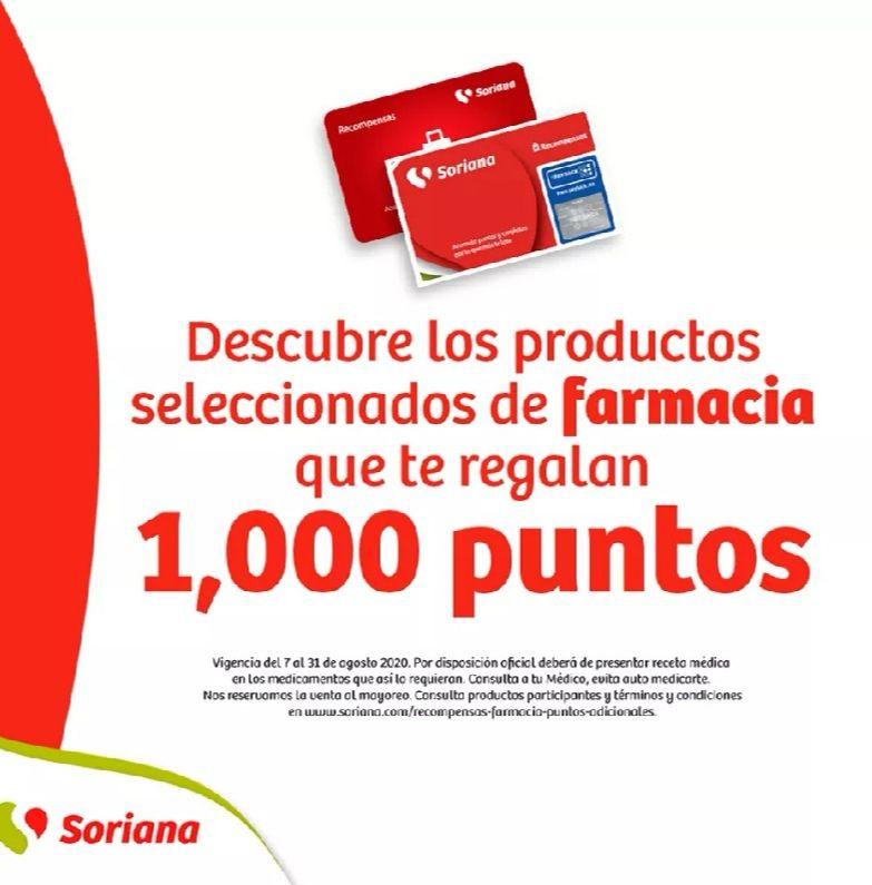 Soriana: Medicamentos que regalan 1,000 puntos Soriana para canjear por productos gratis