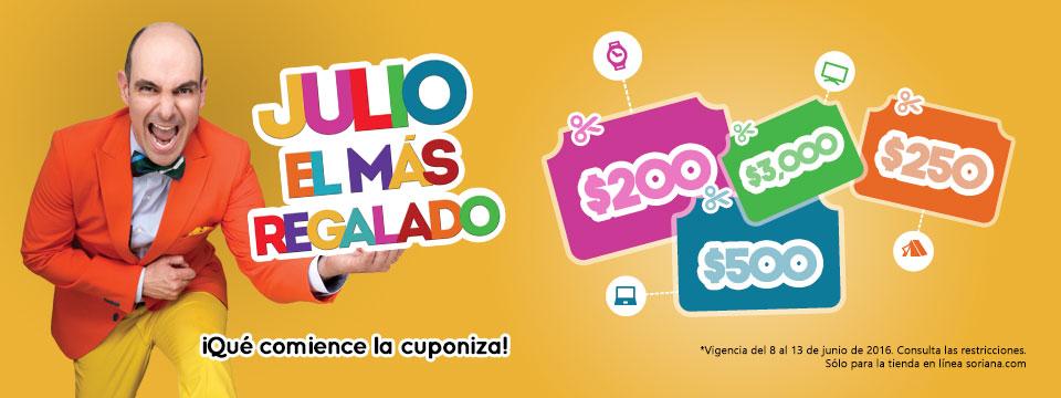 Promoción de Julio Regalado 2016 en Soriana.com: varios cupones de descuento