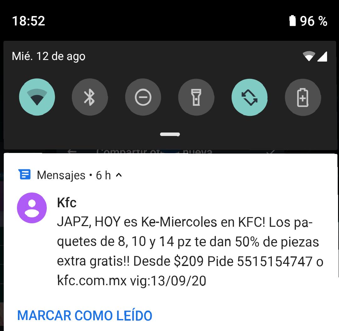 KFC: 8 piezas + 4 gratis + 30% WhatsApp