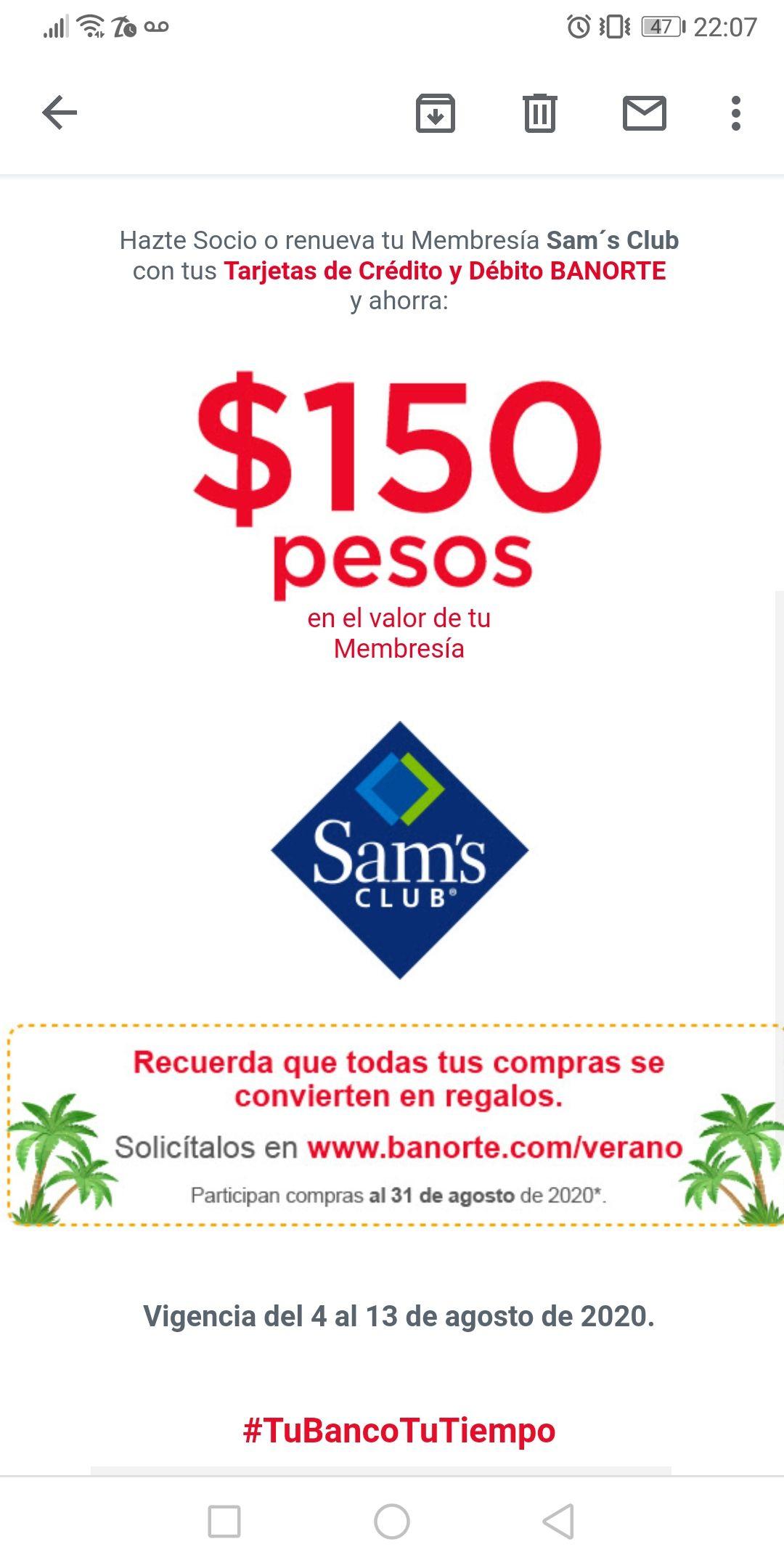 Sam's Club: Ahorra $150 al hacerte socio o renovar membresía pagando con Banorte
