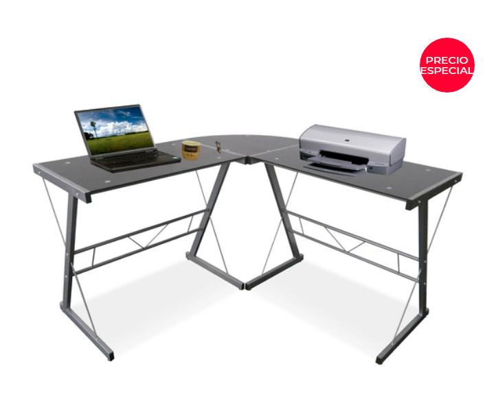 Office Depot: Escritorio de Cristal y Acero en forma de L