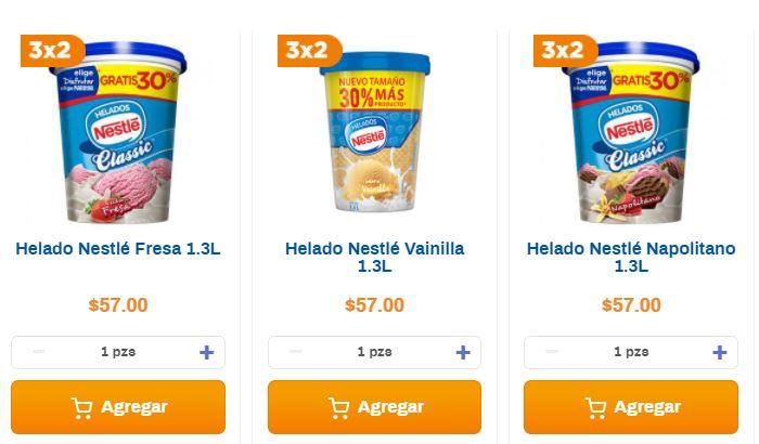 Chedraui: 3x2 en helados Nestlé 1.3 L