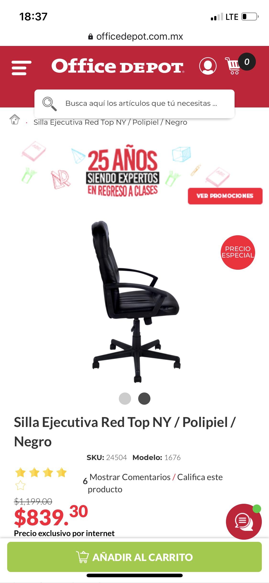 Office Depot: Silla Ejecutiva Red Top NY / Polipiel / Negro