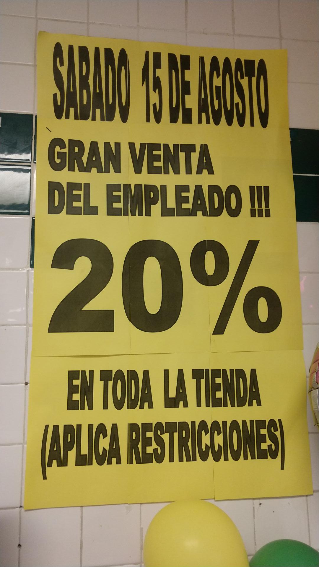 Venta de empleado de Soriana 20 % descuento en toda la tienda
