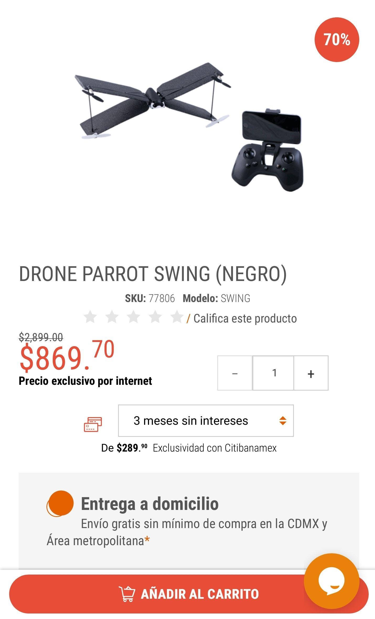 RadioShack:DRONE PARROT SWING (NEGRO)