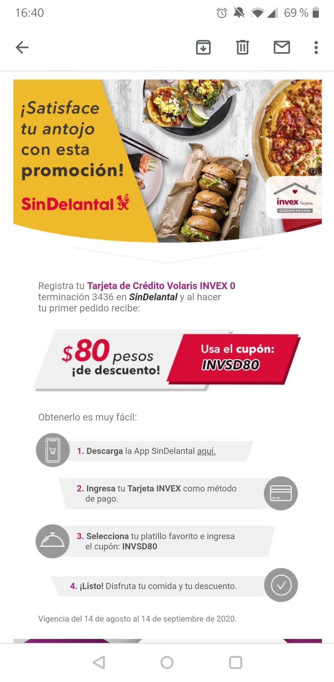 $80 de desc en Sin Delantal pagando con tarjetas Invex