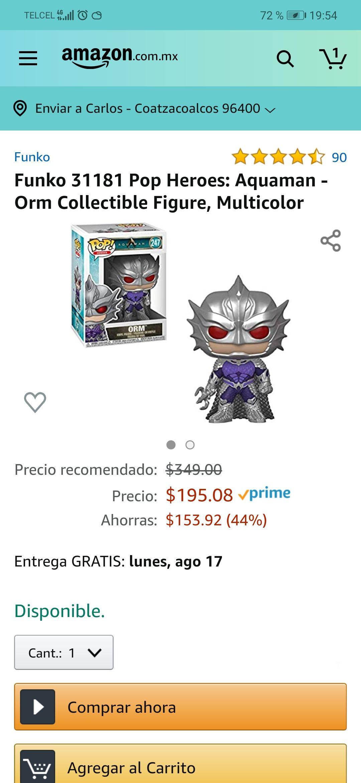 Amazon: Funko 4.7 de 5 estrellas90Opiniones Funko 31181 Pop Heroes: Aquaman - Orm Collectible Figure, Multicolor