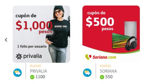Premios Movistar VIP: Cupón de Privalia o Soriana (por 1100 y 550 puntos respectivamente)