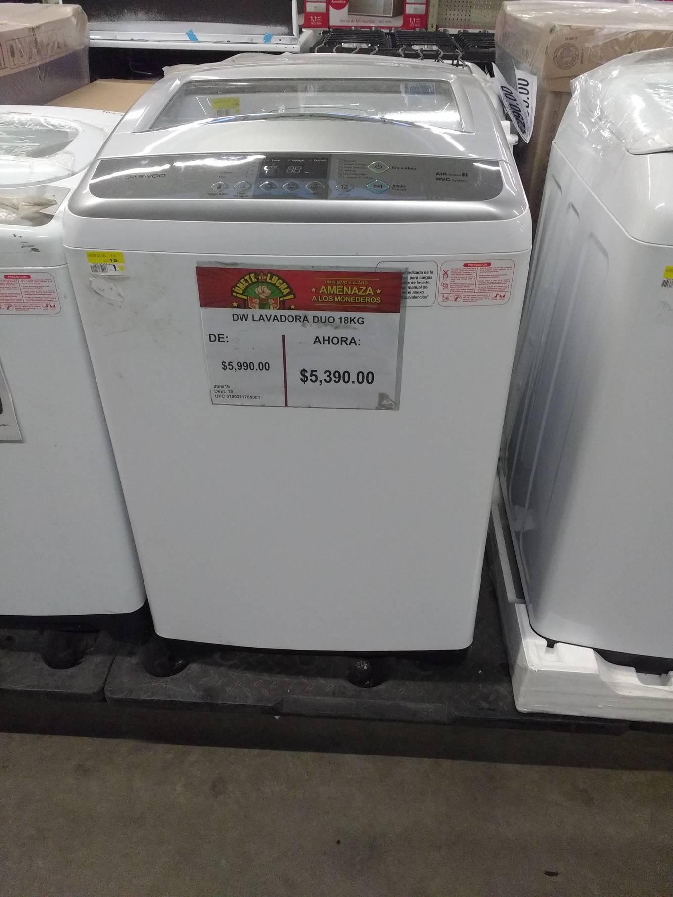 Bodega Aurrerá: lavadora DW de 18kg a $5,390