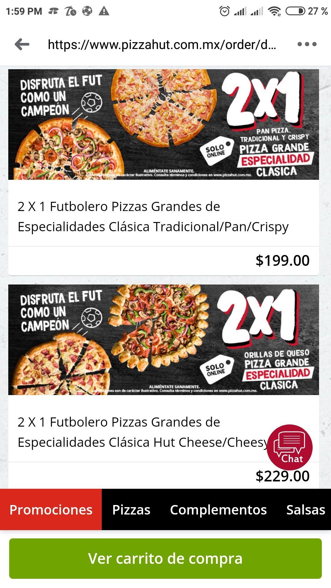 Pizza Hut: 2x1 en pizza grande durante el partido UCL