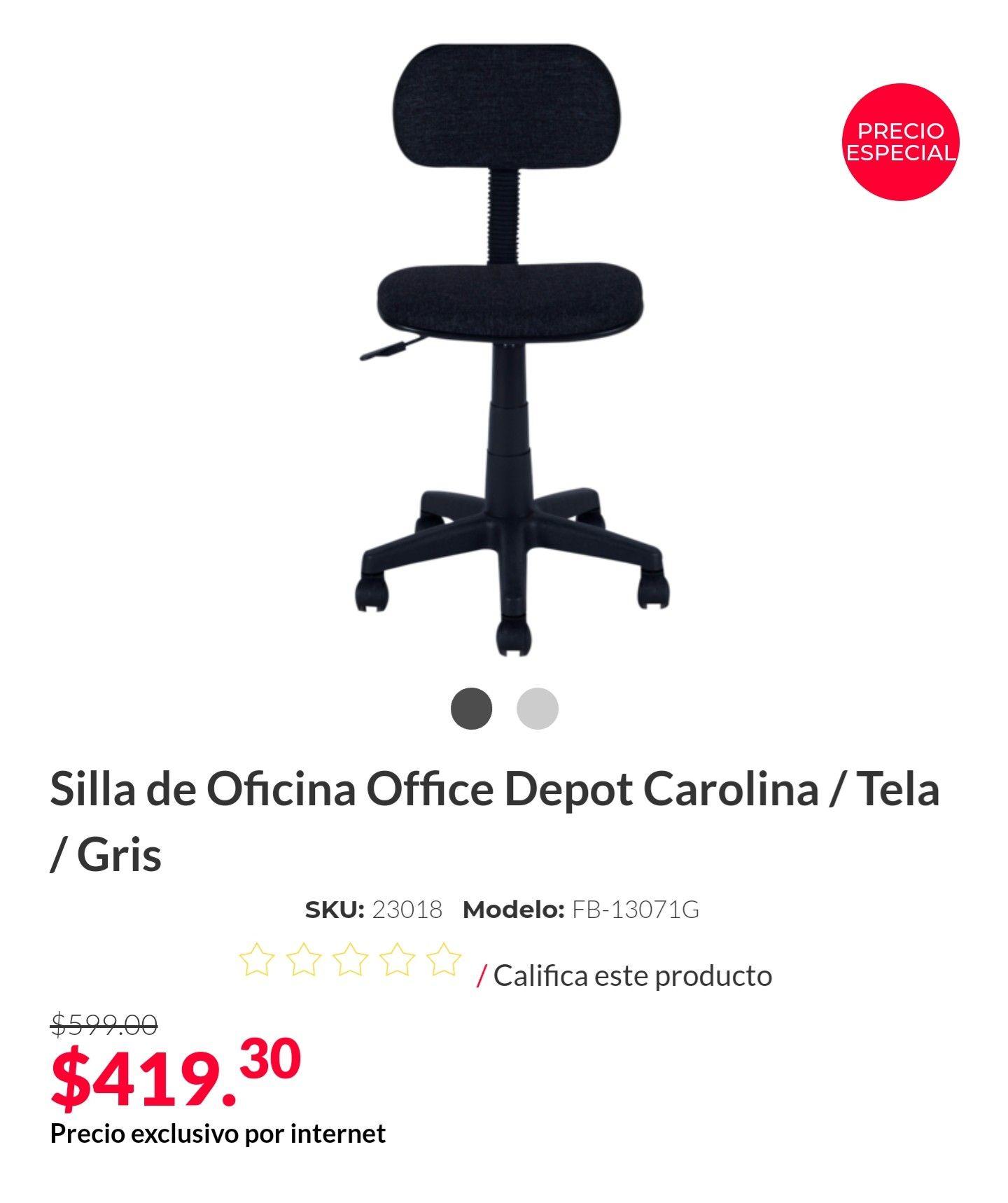 Office Depot: Silla de Oficina Office Depot Carolina / Tela / Gris