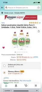 Amazon: 3.6 litros de lavatrastes Salvó Pure