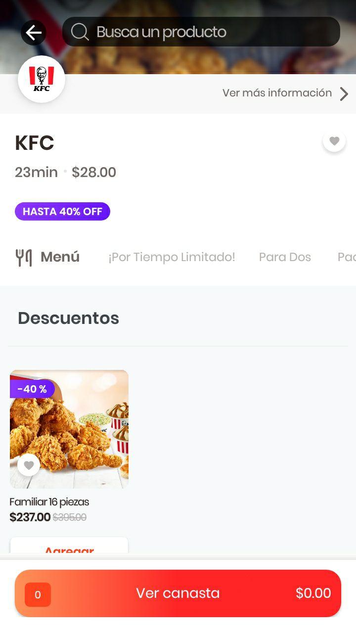Rappi y KFC: paquete Familiar 16Pzs Descuento 40%