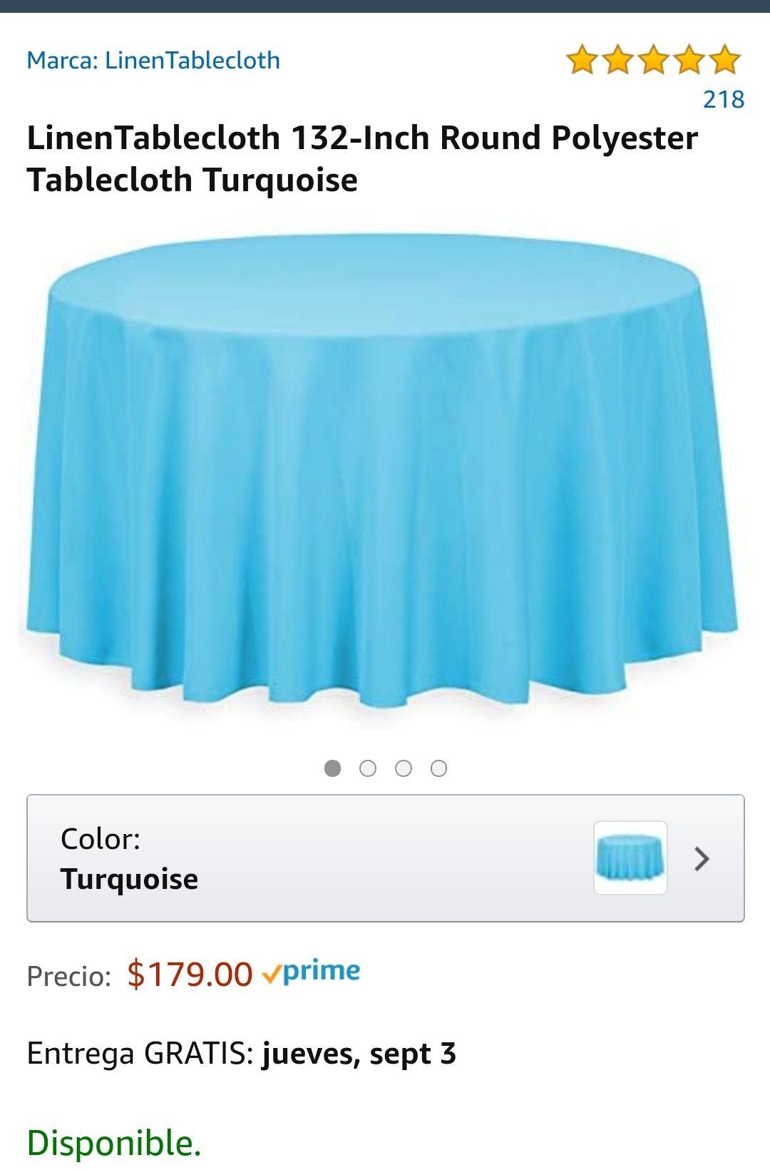 Amazon: Mantel para mesa redonda Azul Marino