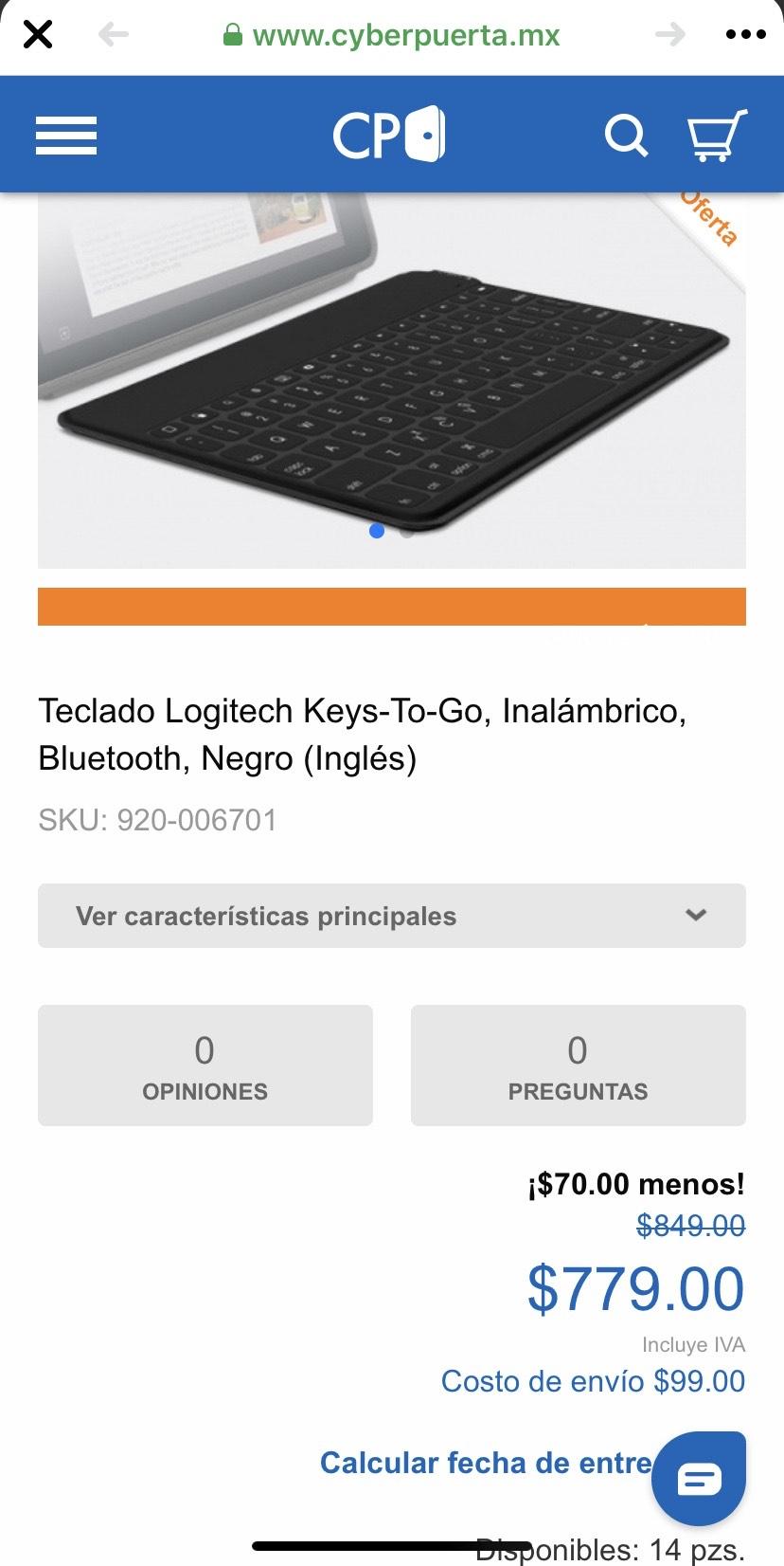 Cyberpuerta: Teclado LOGITECH Keys to go