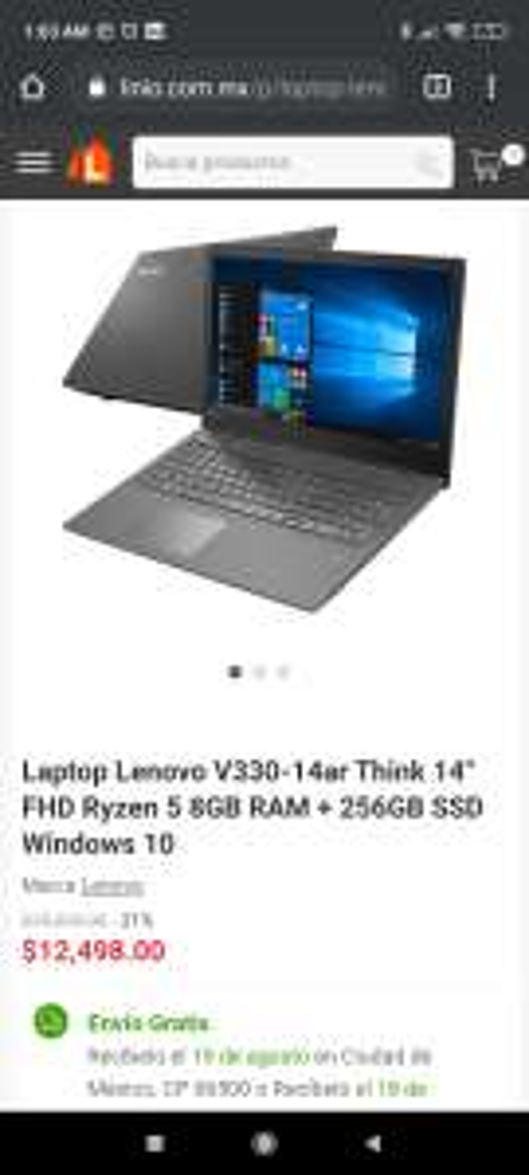 "Linio: Laptop Lenovo V330-14ar Think 14"" FHD Ryzen 5 8GB RAM + 256GB SSD Windows 10"