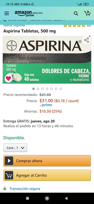 Amazon: Aspirina Tabletas, 500 mg, 40 tabletas