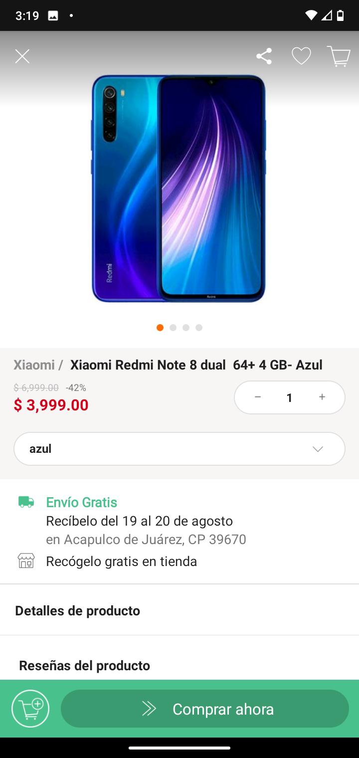 Linio: Xiaomi Redmi Note 8 dual 64+ 4 GB- Azul
