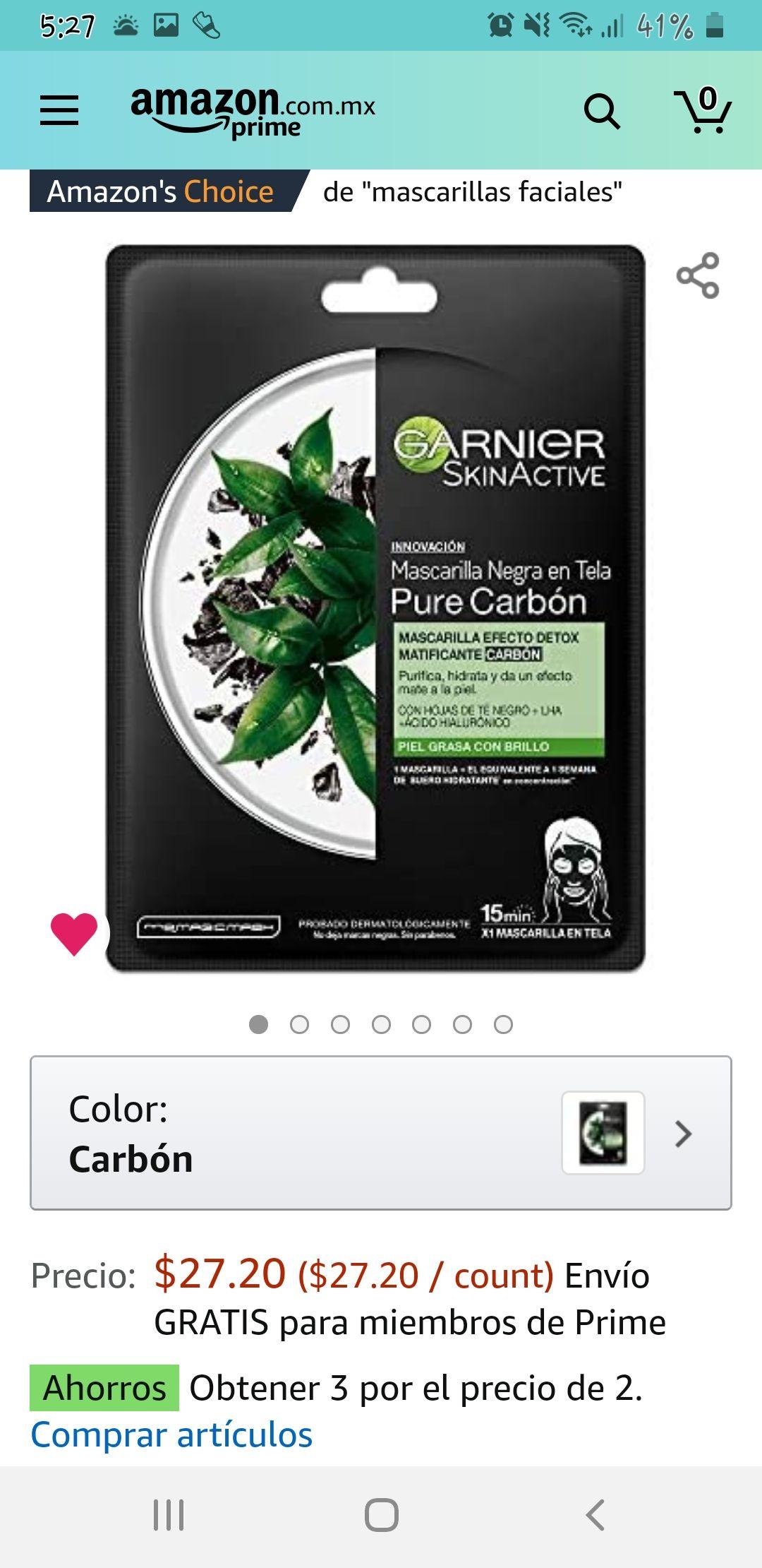 Amazon: Mascarilla facial de carbón activado d Garnier