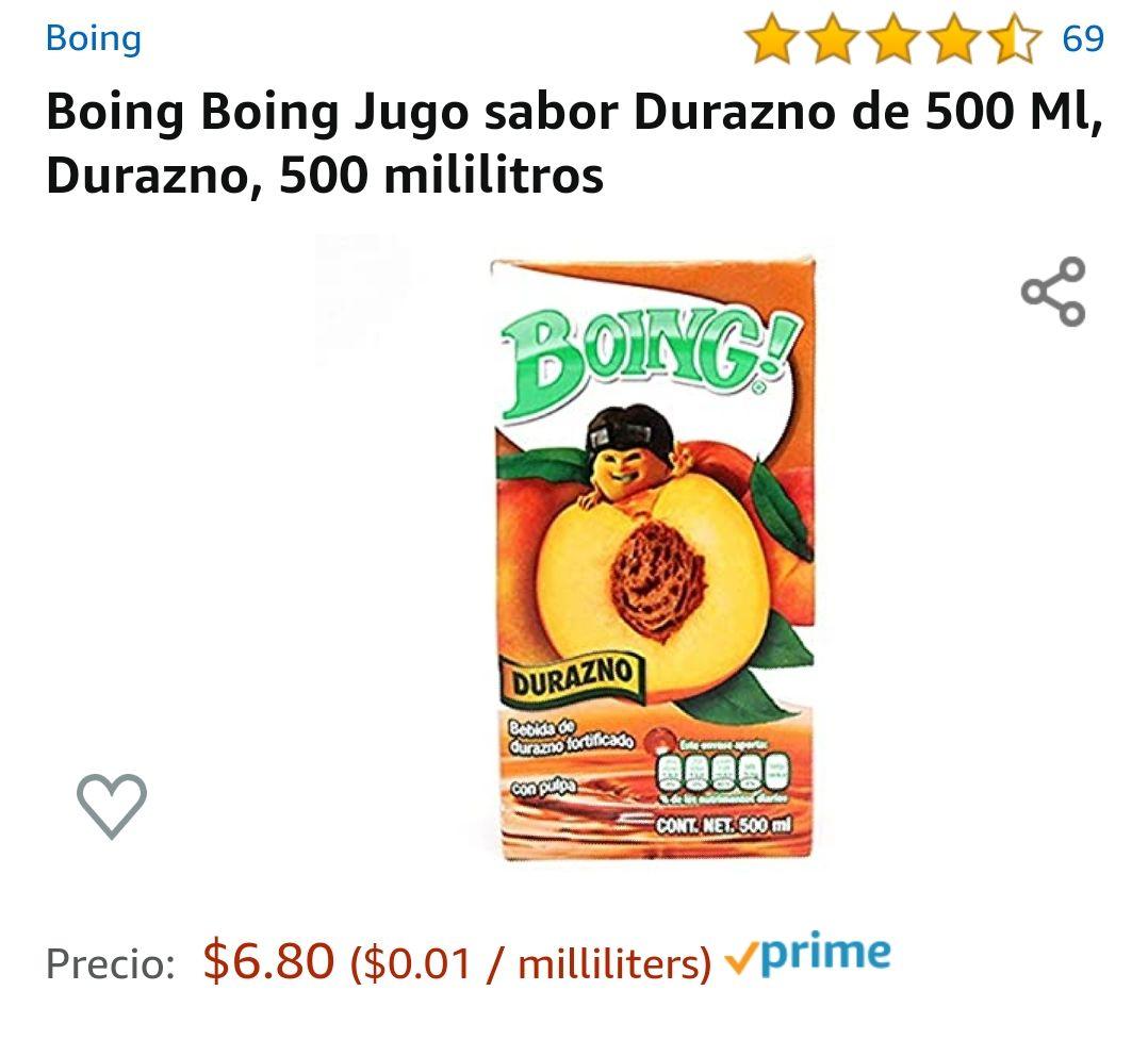 Amazon: Boing Jugo sabor Durazno de 500 Ml