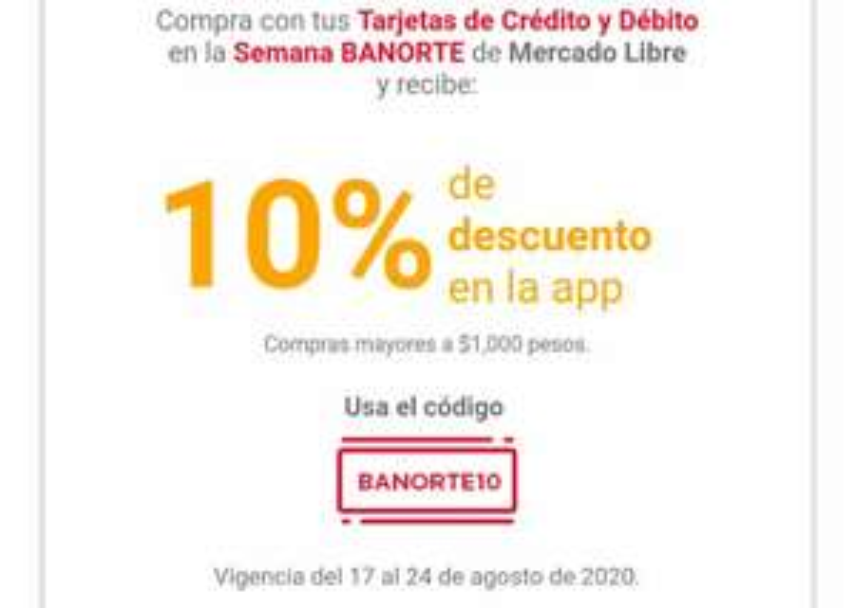 Mercado Libre : Descuento para tarjetas Banorte